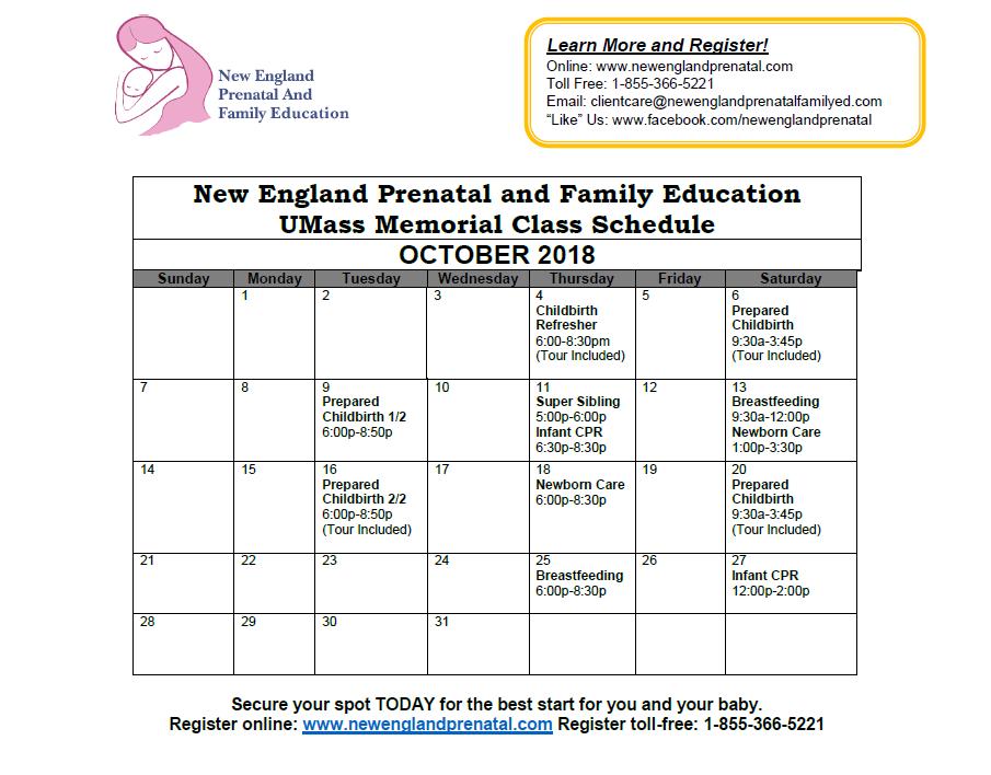 Class Calendar Worcester Ma